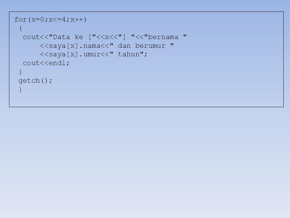 for(x=0;x<=4;x++) { cout<< Data ke [ <<x<< ] << bernama <<saya[x].nama<< dan berumur <<saya[x].umur<< tahun ;